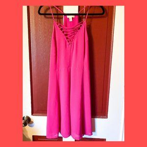 Hot Pink Strappy Cross-Front Dress